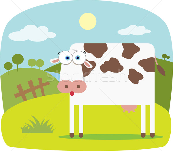 Stock photo: Cartoon Cow with Big Eye