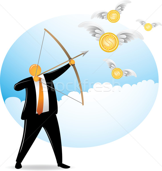 Orange Head Shooting Flying Dollar Stock photo © qiun