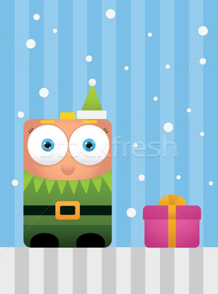 Cuadrados elfo ilustración regalo diseno verde Foto stock © qiun