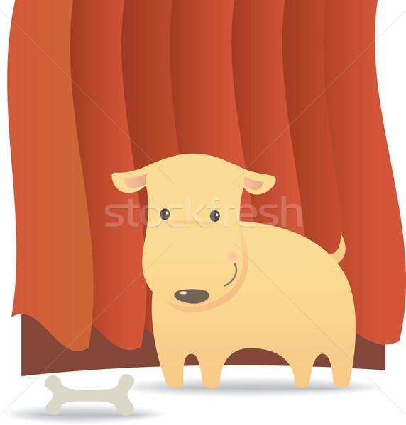 Osso di cane rosso sipario cartoon ossa Foto d'archivio © qiun
