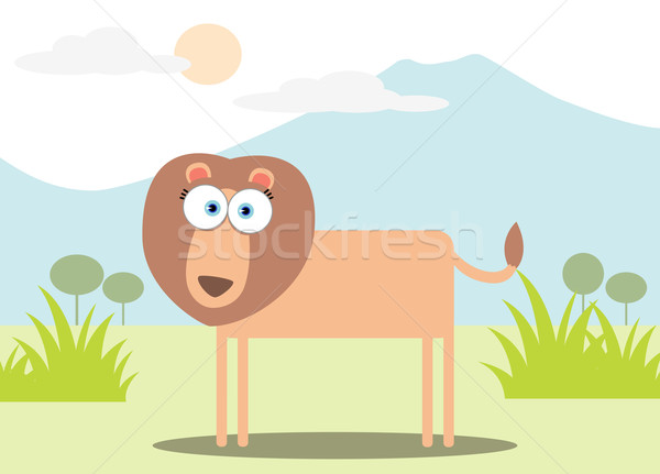 Stock photo: Cartoon Lion with Big Eye