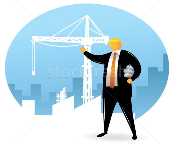 Arancione testa uomo costruzione costruzione indossare Foto d'archivio © qiun