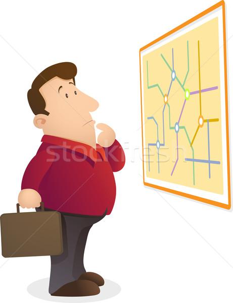 Lectura mapa ilustración hombre empresario rojo Foto stock © qiun