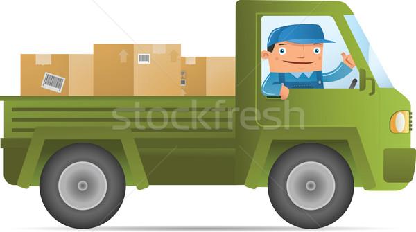 Mozog illusztráció házhozszállítás szolgáltatás autó férfi Stock fotó © qiun