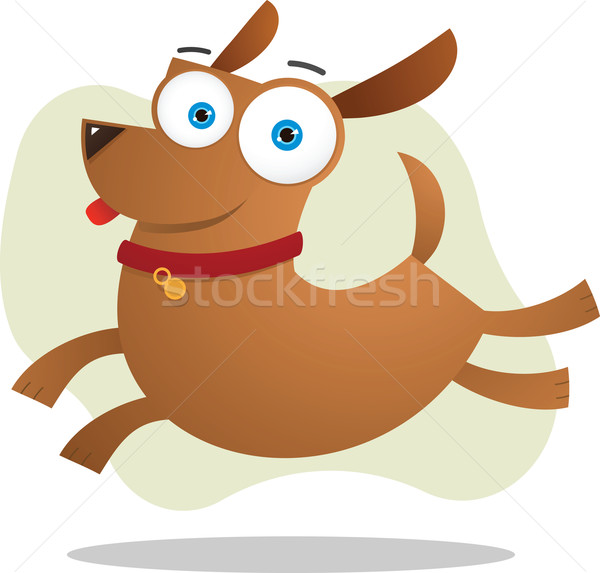 Perro marrón saltar ilustración perro mascota cute Foto stock © qiun