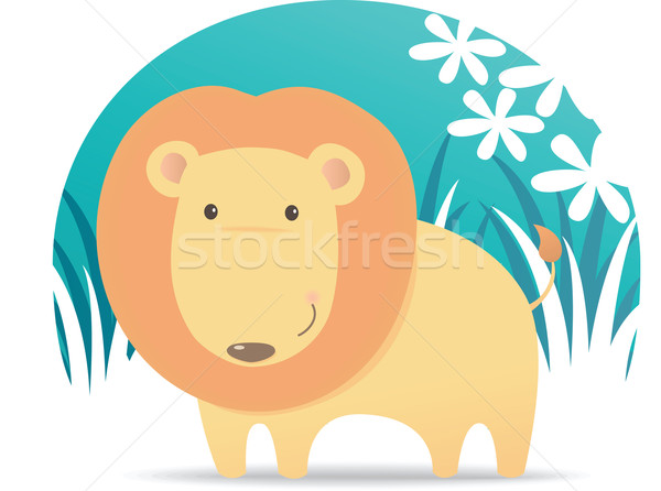 Cute leone illustrazione cartoon Foto d'archivio © qiun