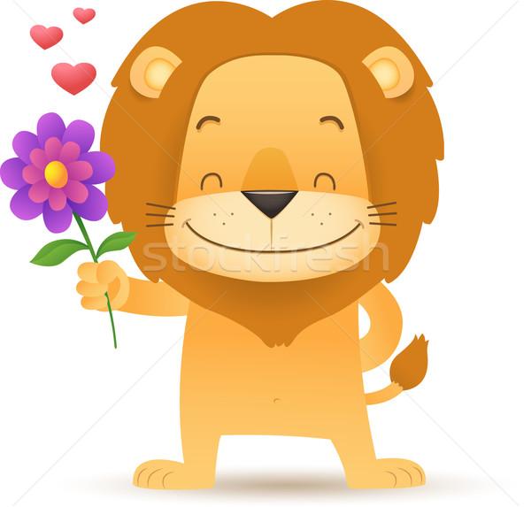 Leão flor ilustração sorrir coração Foto stock © qiun