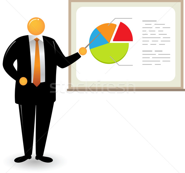 Orange Head Man_Pie chart presentation Stock photo © qiun