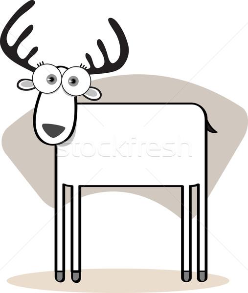 Stock foto vektor illustration cartoon deer with big eye in black