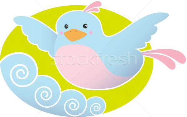 Azul púrpura aves vuelo ilustración Foto stock © qiun