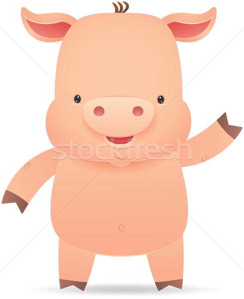 Little Pig waving hand Stock photo © qiun
