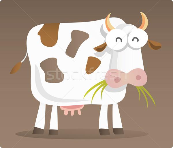 корова еды трава Cartoon иллюстрация коричневый Сток-фото © qiun
