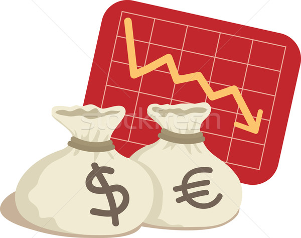 сумку доллара евро диаграммы вниз бизнеса Сток-фото © qiun