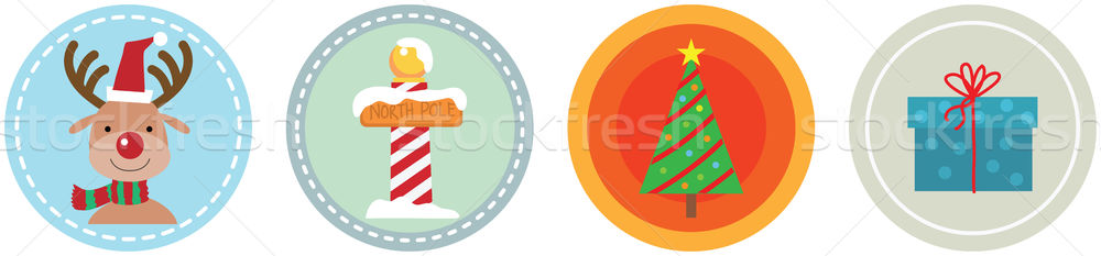 Flat 4 Christmas Icons vol 4 Stock photo © qiun