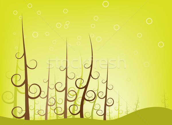 Bos swirl boom illustratie groene Stockfoto © qiun