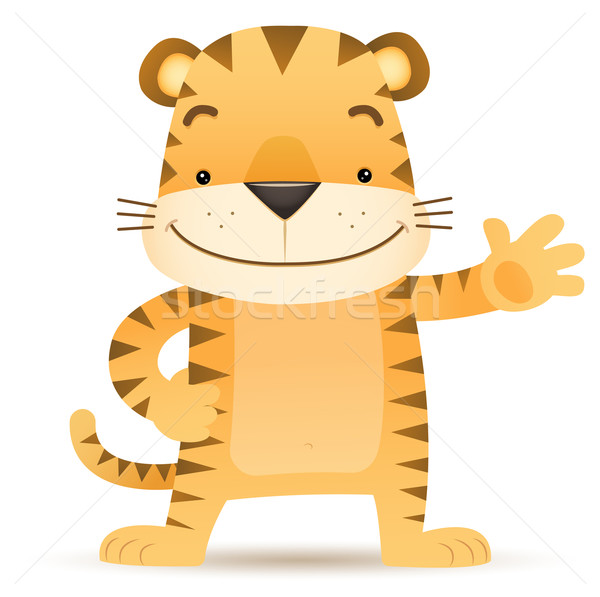 Tigre main illustration heureux animaux Photo stock © qiun