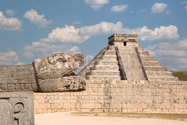 Taş yılan kafa heykel piramit kültür Stok fotoğraf © Quasarphoto