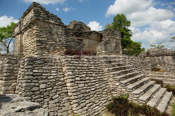 Stock fotó: ősi · piramis · romok · felhős · égbolt · lépcsősor