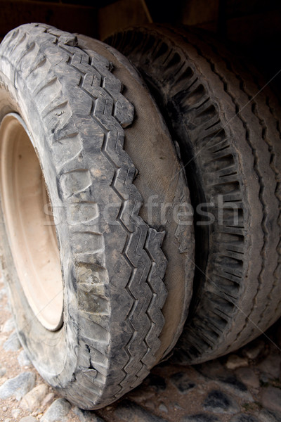 Stock photo: extremely worn tires