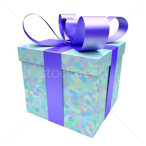Caixa de presente azul textura branco casamento feliz Foto stock © Quka
