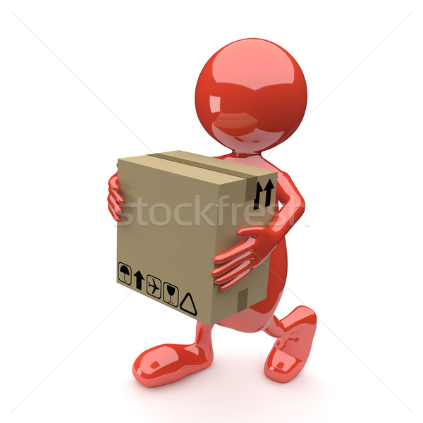3D People with Cardboard box in Hands Stock photo © Quka