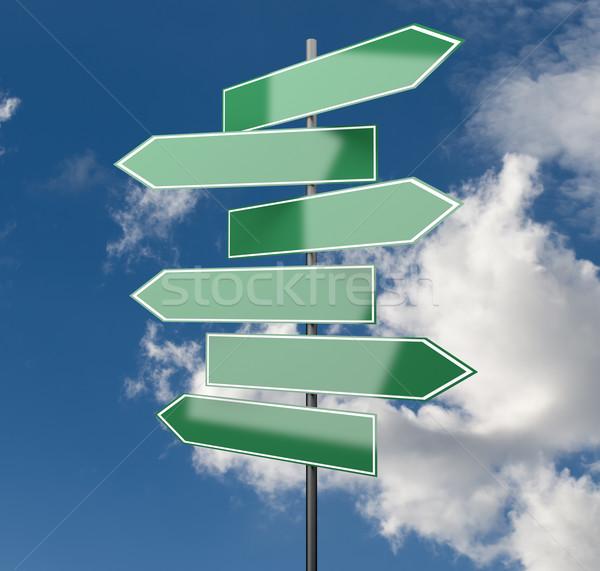 Verkeersborden groene hemel exemplaar ruimte wolken teken Stockfoto © Quka