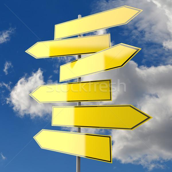 Verscheidene verkeersborden Geel blauwe hemel wolken teken Stockfoto © Quka