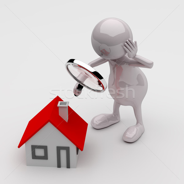 3d mensen vergrootglas huis grijs man home Stockfoto © Quka