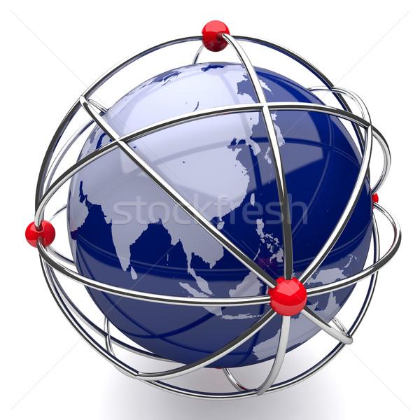 地球 原子 ケージ アジア 白 テクスチャ ストックフォト © Quka