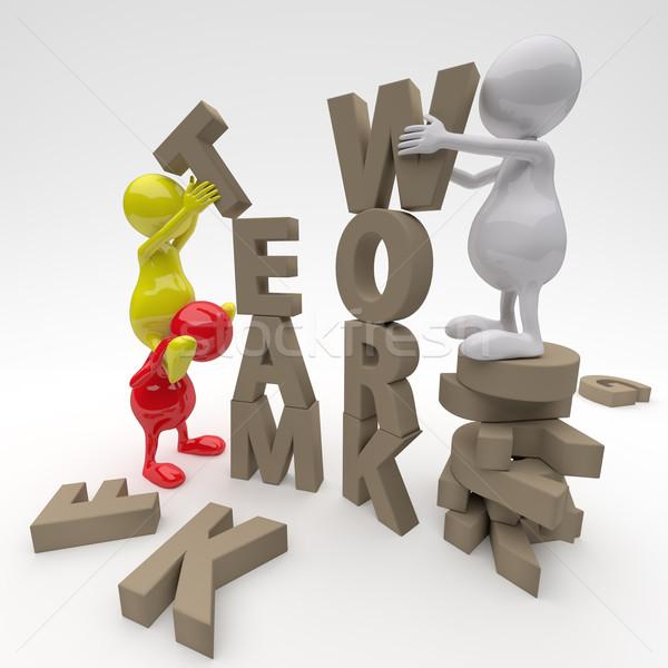 Foto stock: 3d · pessoas · trabalhando · trabalho · em · equipe · palavra · cartas · fundo