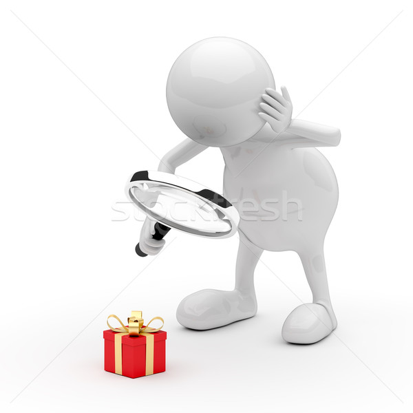 3D People with Magnifying Glass and Gift Box Stock photo © Quka