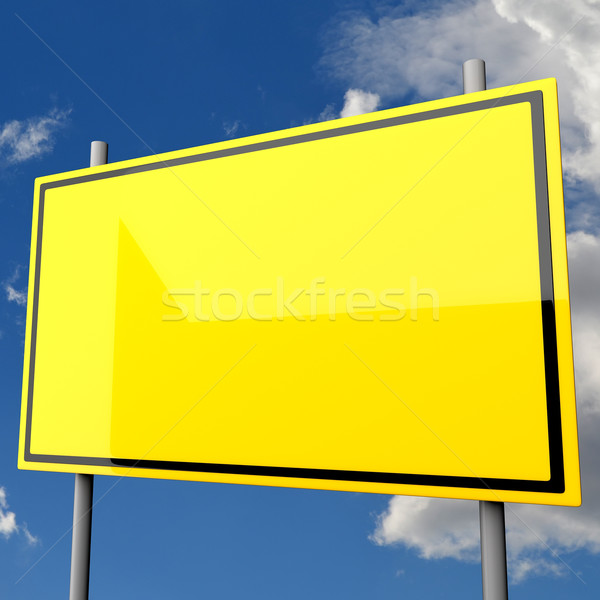 Placa sinalizadora grande amarelo blue sky nuvens assinar Foto stock © Quka