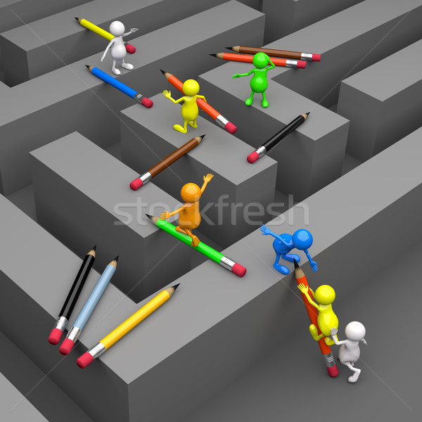 3D People Labyrinth and Pencil Stock photo © Quka
