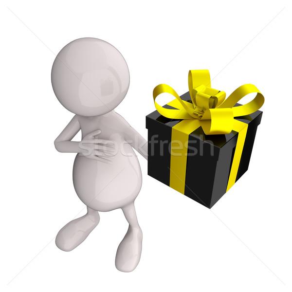 3d insanlar siyah parlak hediye kutusu el sevmek Stok fotoğraf © Quka