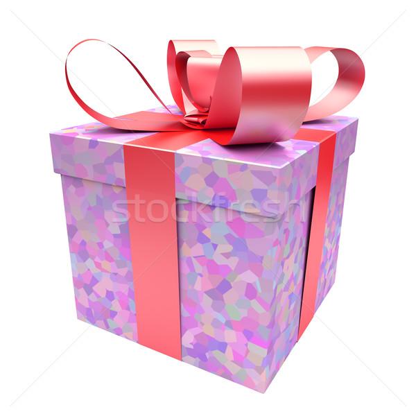 Geschenkdoos roze witte bruiloft gelukkig Stockfoto © Quka