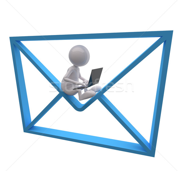 3d insanlar mavi posta ikon dizüstü bilgisayar beyaz Stok fotoğraf © Quka