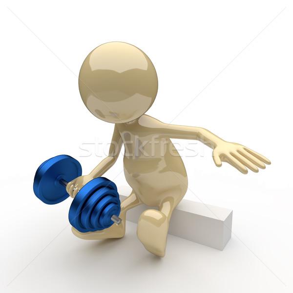 3d emberek testépítő kicsi fehér férfi absztrakt Stock fotó © Quka