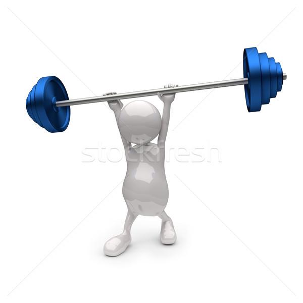 3d insanlar mavi ağırlıklar beyaz vücut Stok fotoğraf © Quka