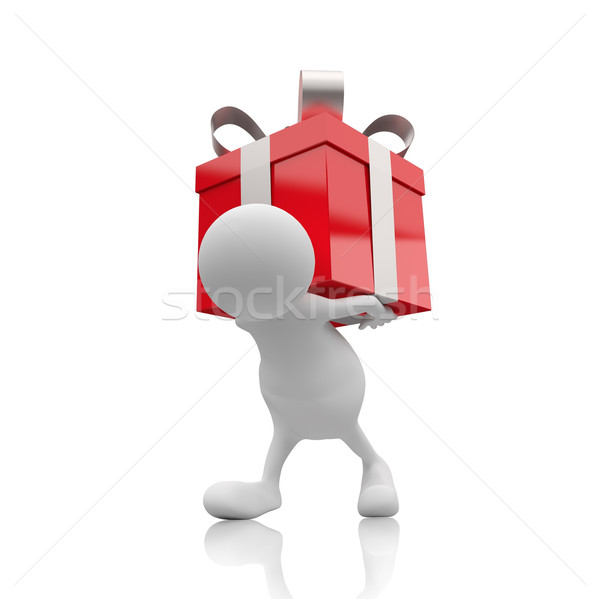 3D People with Red Gift Box Stock photo © Quka