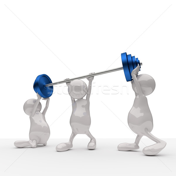 3D People Teamwork Holding Blue Weights Stock photo © Quka