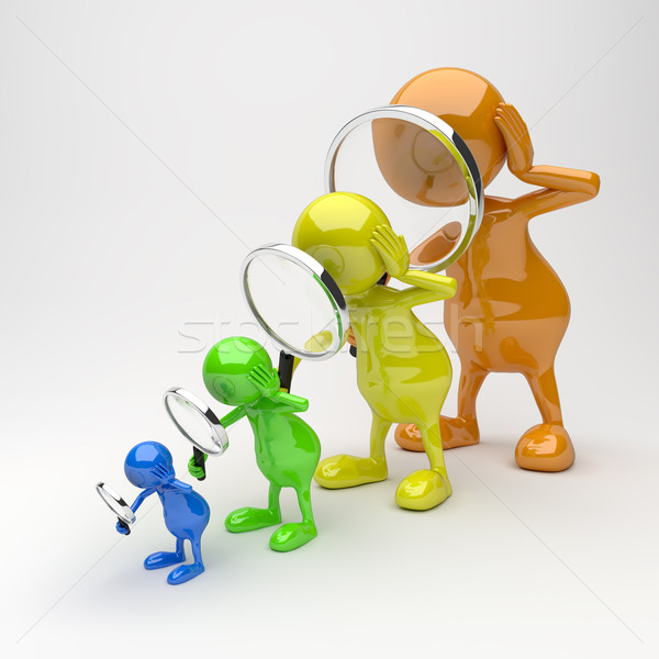 3D People with Magnifying Glass Stock photo © Quka