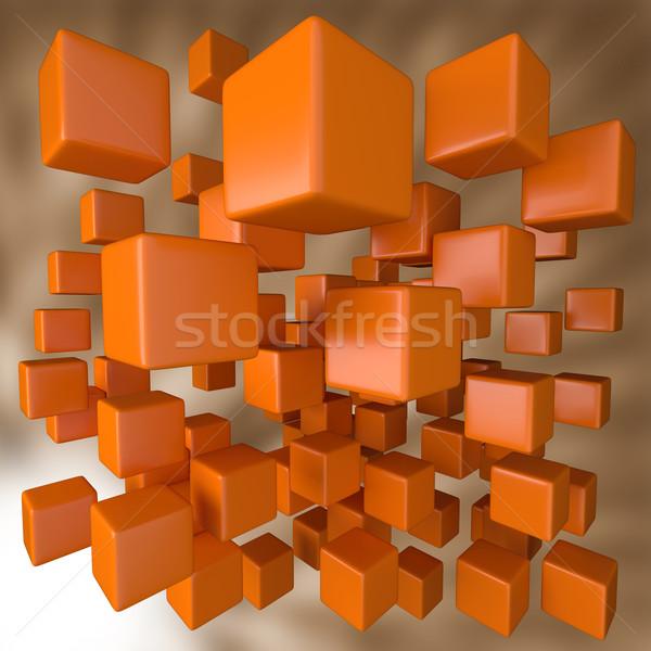 Abstract 3D oranje blokken business gebouw Stockfoto © Quka
