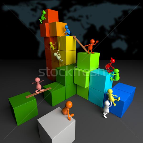Foto stock: 3d · pessoas · trabalho · em · equipe · colorido · blocos · escuro · negócio