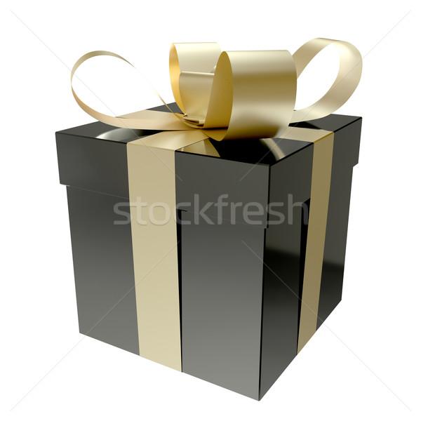 Ajándék doboz fekete feketefehér boldog születésnap háttér Stock fotó © Quka