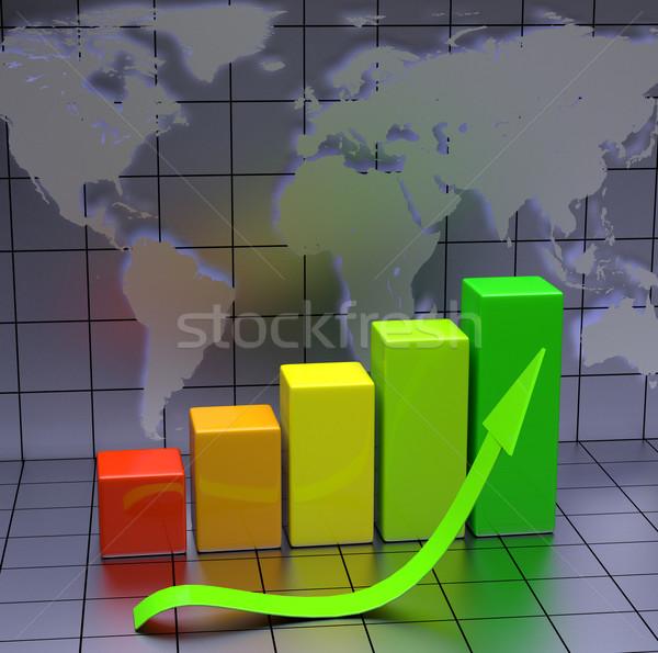 Business grafiek groene pijl wereldkaart computer Stockfoto © Quka