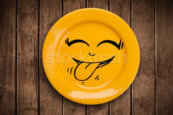 Mutlu karikatür yüz renkli yemek Stok fotoğraf © ra2studio