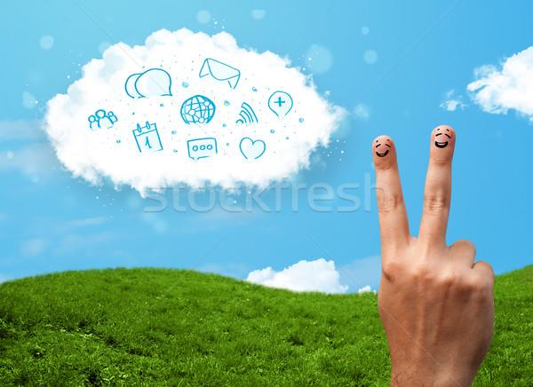 幸せ スマイリー 指 見える 雲 ストックフォト © ra2studio