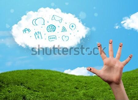 Stock fotó: Boldog · derűs · emotikon · ujjak · néz · felhő