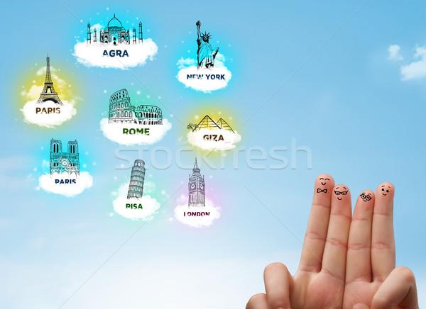 Cheerful finger smileys with sightseeing landmarks icons Stock photo © ra2studio