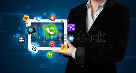 Foto stock: Jóvenes · empresario · tableta · moderna · colorido